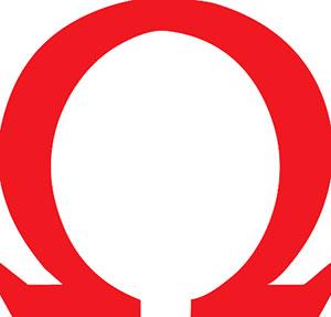 Red omega symbol Logos.