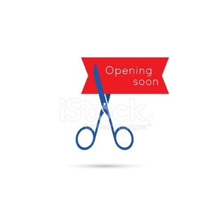 Scissors cut the red tape. Clipart Image.