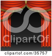 Red Velvet Theatre Curtains Swept to the Side Clipart Illustration.