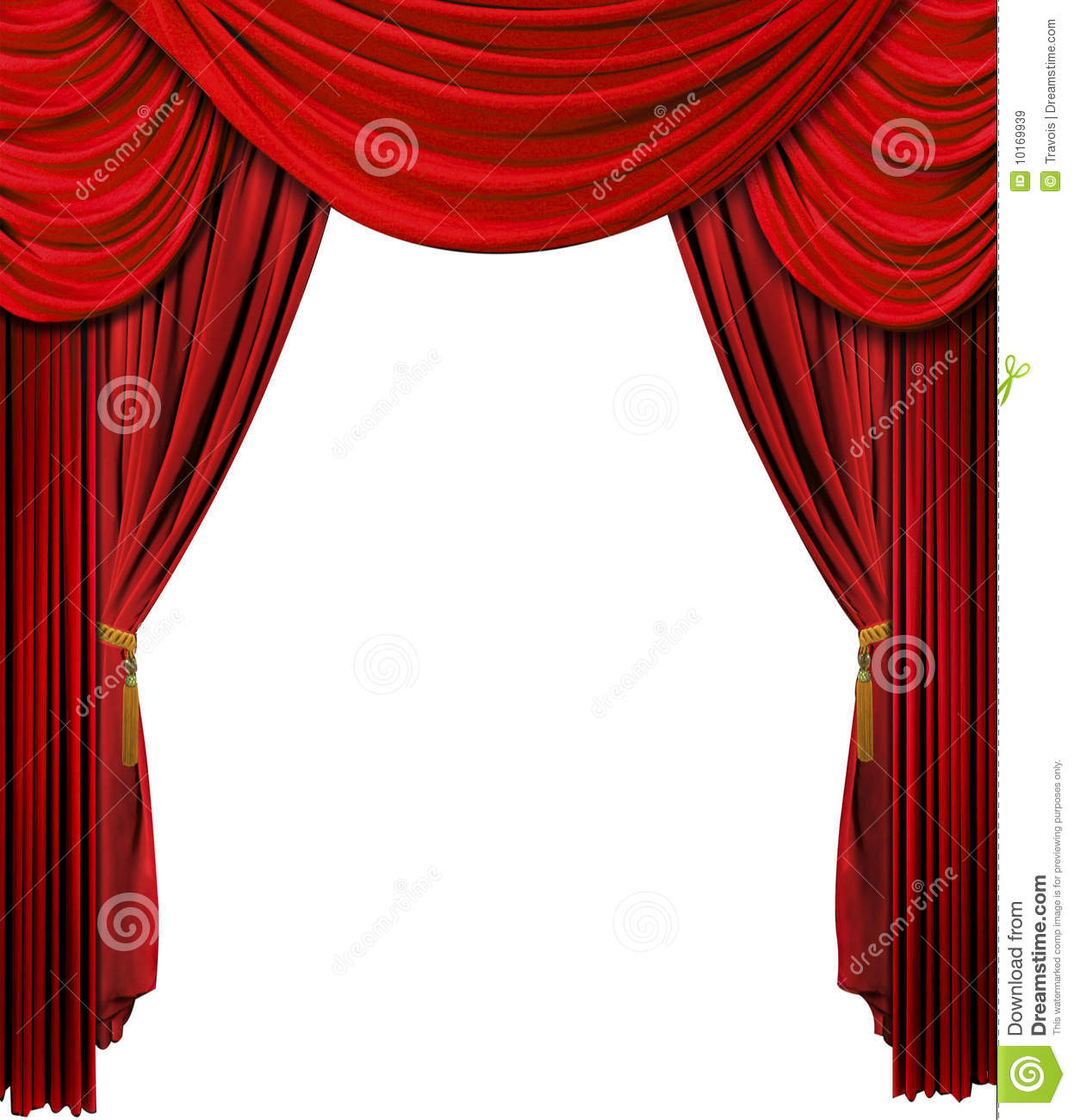 Red stage curtains.