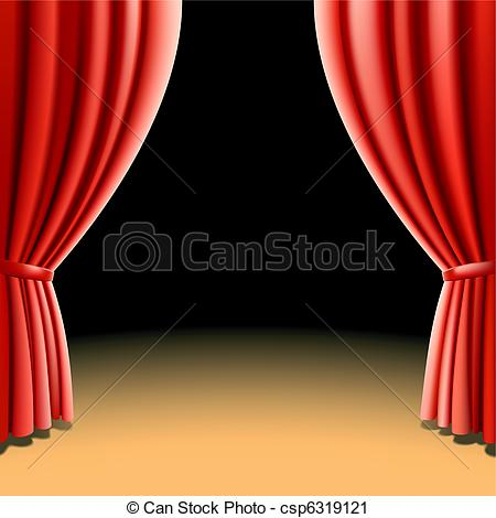 Vector Clip Art of Red theater curtain on dark.