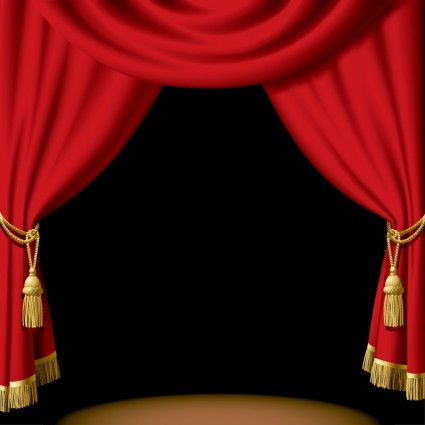 Red Theater Curtain Clipart.