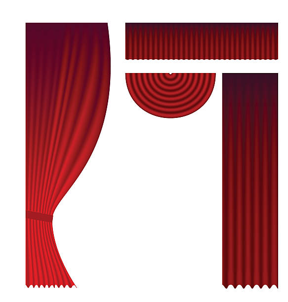 Clip Art Of Red Stage Curtain Clip Art, Vector Images.