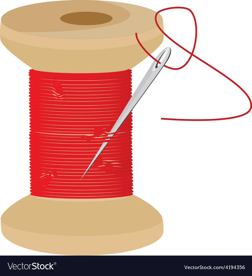 Red thread wooden spool.