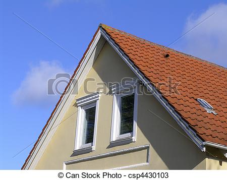 Stock Photos of Attic with red tile roof.