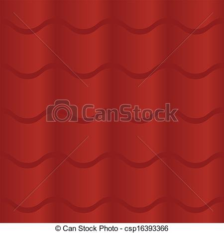 Clip Art Vector of Seamless Red Roof Tile.