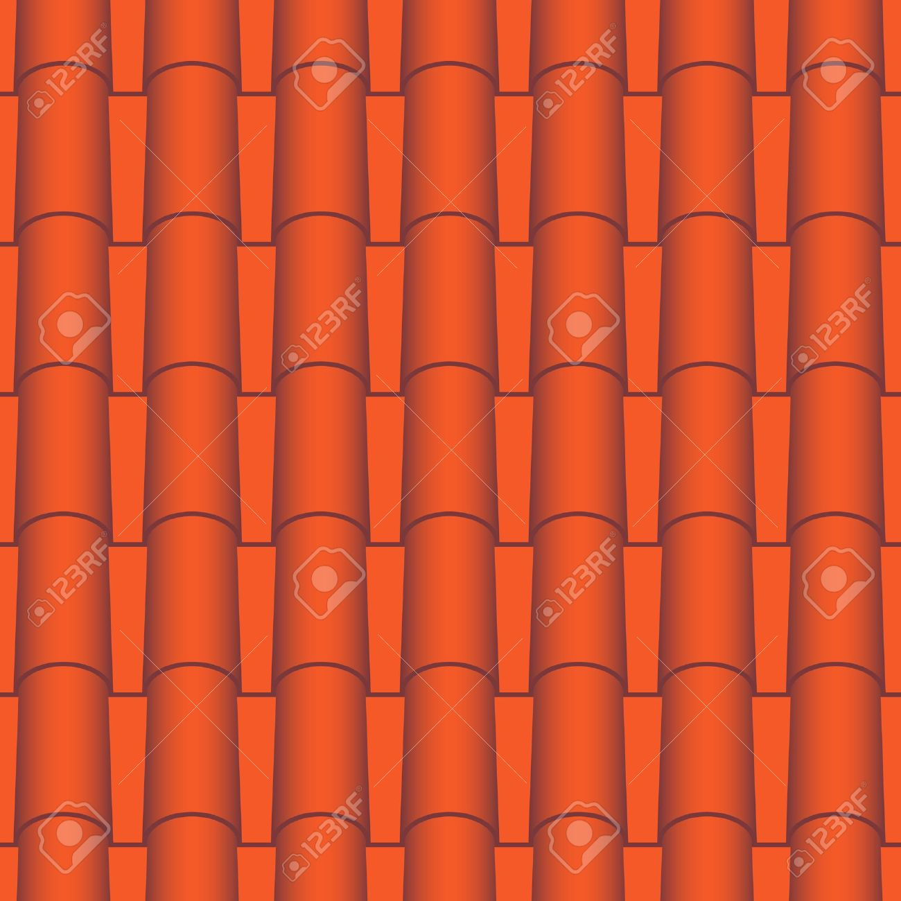 Red Roof Tiles Seamless Vector Texture Royalty Free Cliparts.
