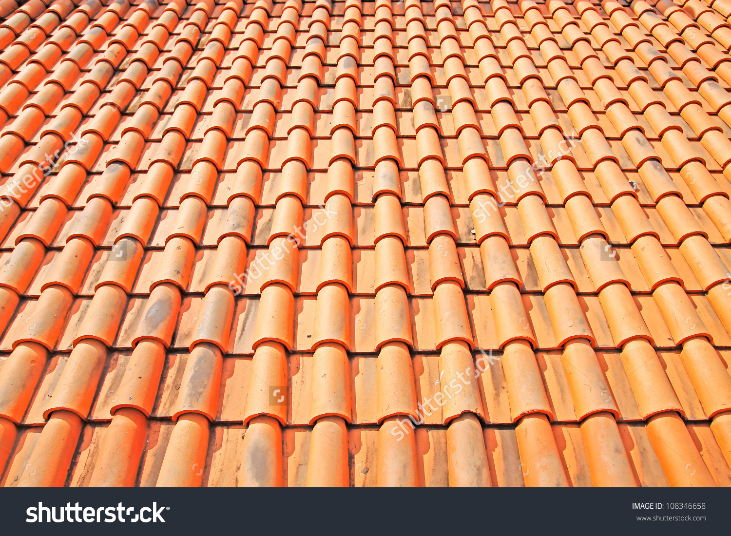Tile Roof Detail Red Clay Tile Stock Photo 108346658.