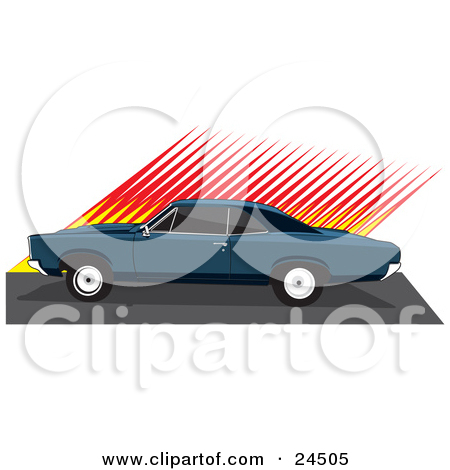 Clipart Illustration of a Red 1966 Pontiac Gto Muscle Car With A.
