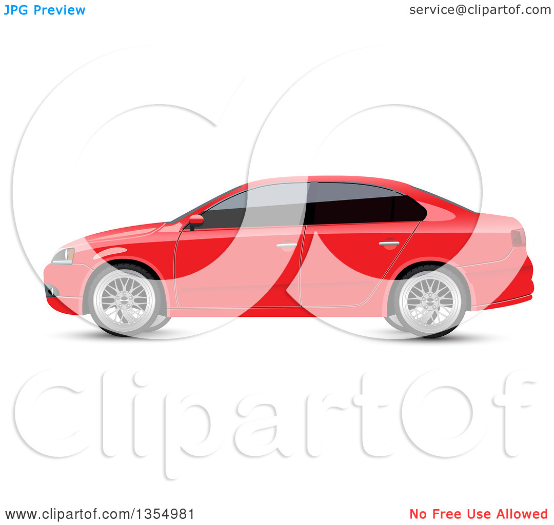 Clipart of a Red Sedan Car with Dark Window Tint.