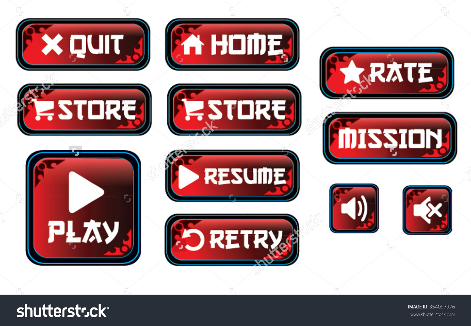 Red Tint Buttons Quit Restore Rate Stock Vector 354097976.
