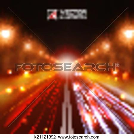 Clipart of red tint night road k21121392.