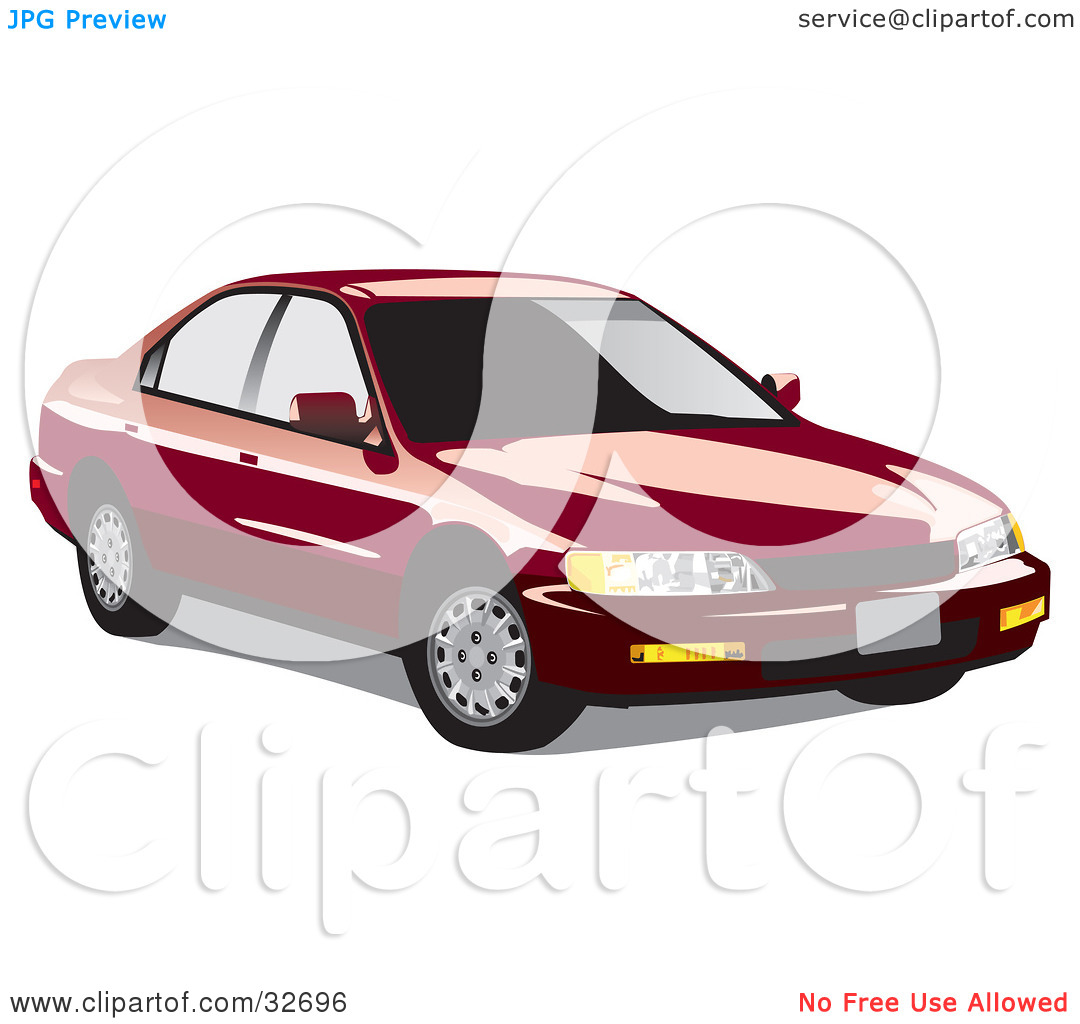 Clipart Illustration of a Red Honda Accord With Dark Window Tint.