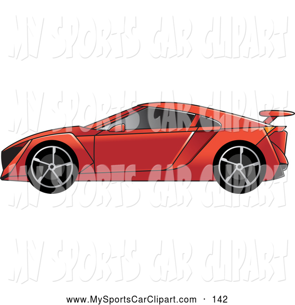Transportation Clip Art of a Red Sports Car with Window Tint by.