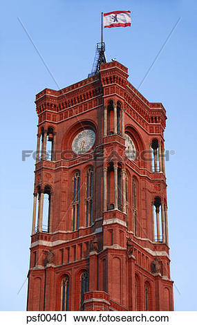 Stock Photography of Germany, Berlin, Clock tower of the Town Hall.