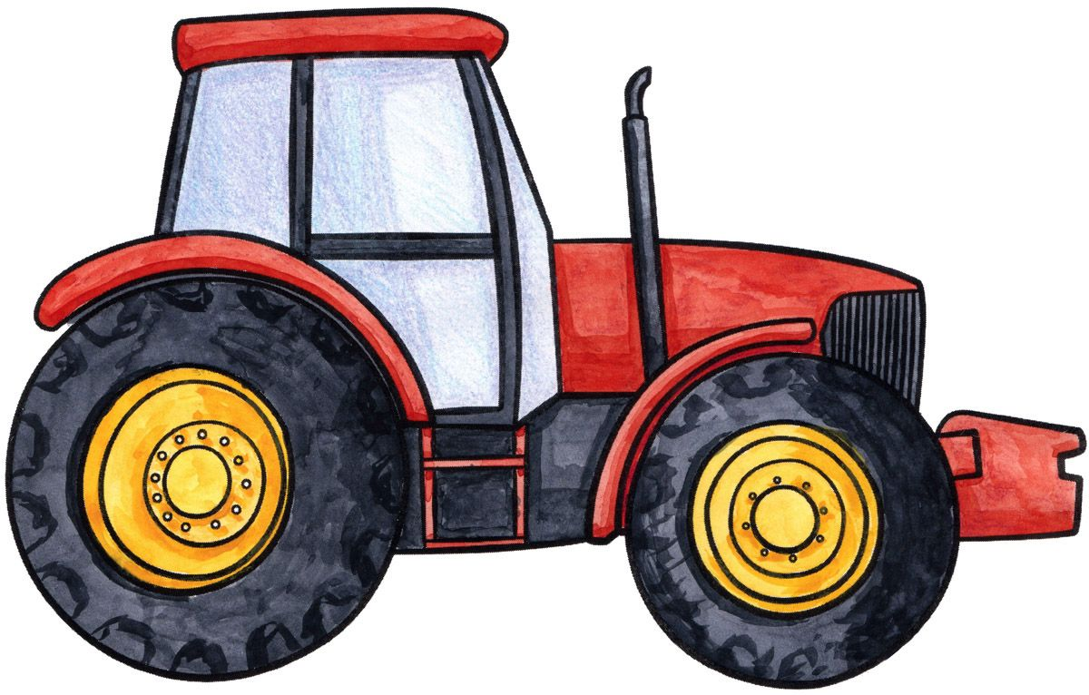 How to draw a beautiful red tractor!.