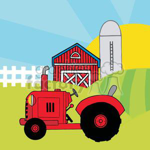 Vintage Red Tractor In Front Of Country Farm clipart. Royalty.