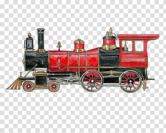 Train Rail transport Steam locomotive Steam engine, Red.
