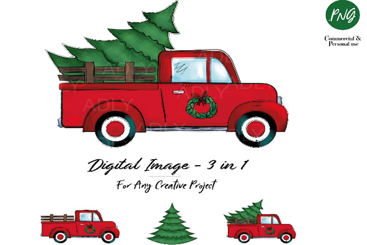 Christmas sublimation, red truck with Christmas Tree.