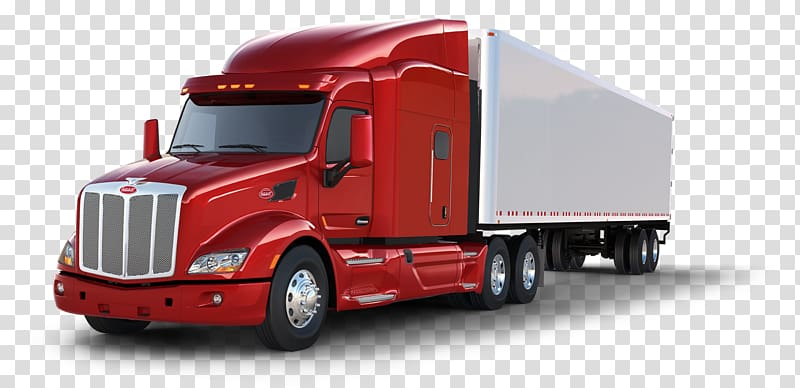 Red freight truck , Peterbilt Car Tesla Semi Semi.