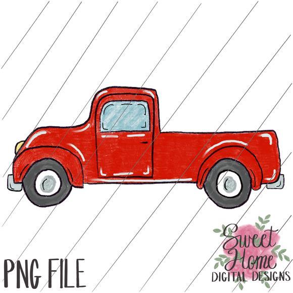 Vintage Red Truck PNG Printable.