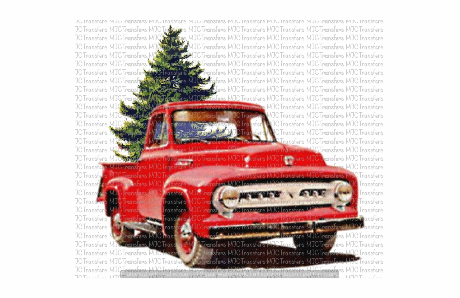 Old Red Truck With Christmas Tree, Transparent Png Download.