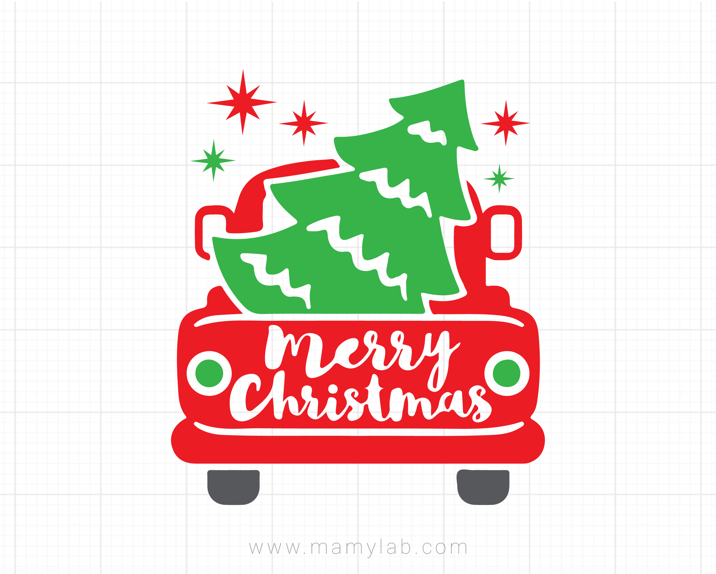 Christmas Truck Svg, Red Truck with Tree Svg, Merry Christmas Svg, Dxf,  Png, Winter Holiday Cut Files, Xmas Clipart, Silhouette, Cricut.