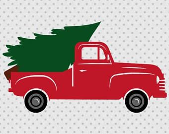 Christmas Tree Truck, Old Truck, Vintage, Antique, SVG.