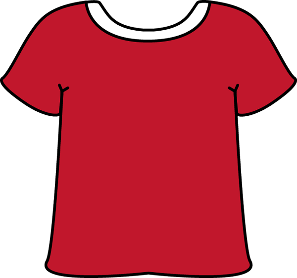 Red Tshirt with a White Collar with a White Collar.