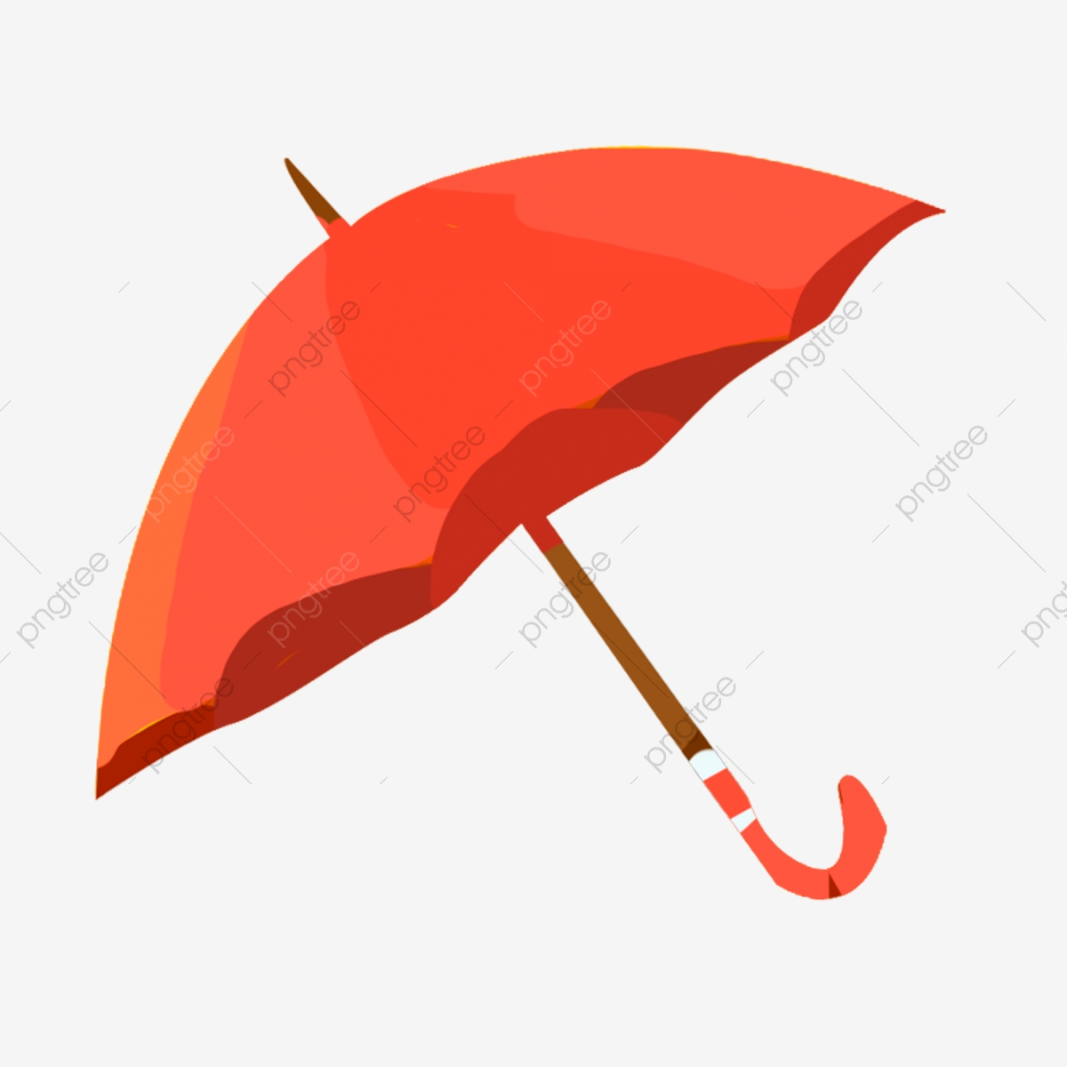 A Red Umbrella Cartoon Element, One, Open, Red PNG.