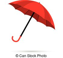 Vector of Red and black umbrellas.