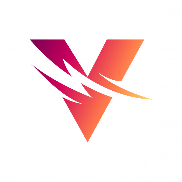 Letter v with thunder initial logo Vector.
