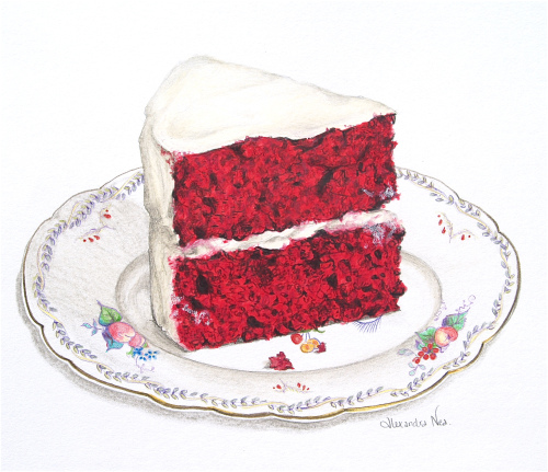 red velvet cake on a vintage saucer drawing.