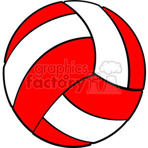 sports equipment red white volleyball clipart. Royalty.