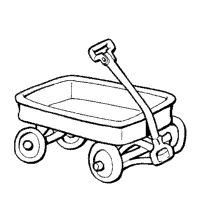 red wagon clipart black and white #20