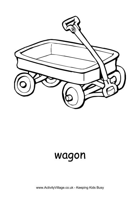 red wagon clipart black and white #9