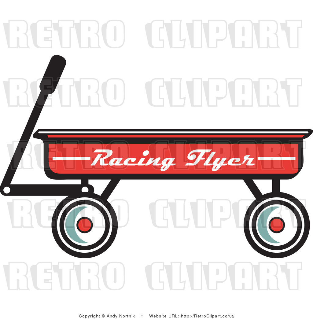 red wagon clipart black and white #7