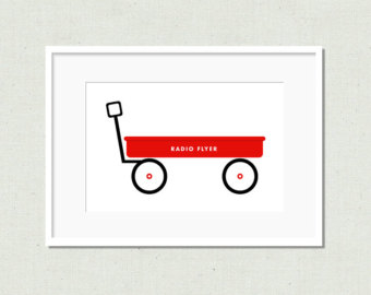 red wagon clipart black and white #3