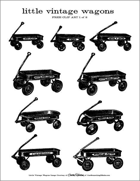 red wagon clipart black and white #2