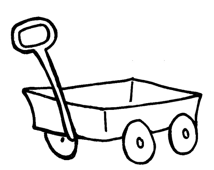 red wagon clipart black and white #14
