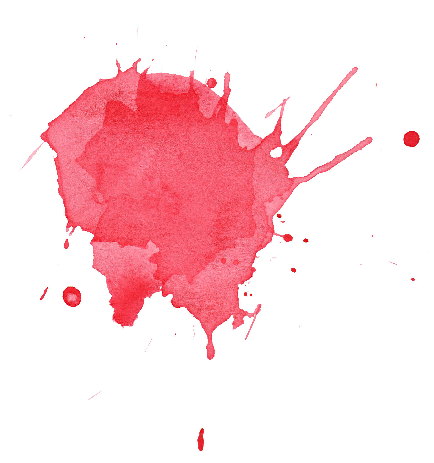 6 Red Watercolor Splatter (PNG Transparent).