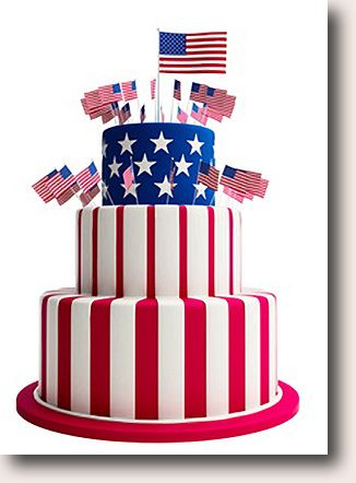 not sure about all the flags… but i like the patriotic cake.