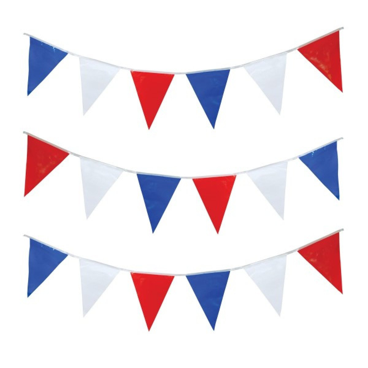 red,white and blue bunting.