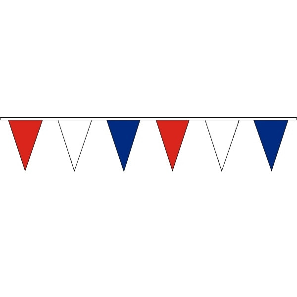 Pennant Bunting Red,White & Blue 100m Roll 200mm x 300mm (Vinyl).