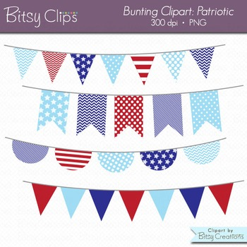 Patriotic Bunting Clipart Digital Art Set Red White and Blue Banner Flag.