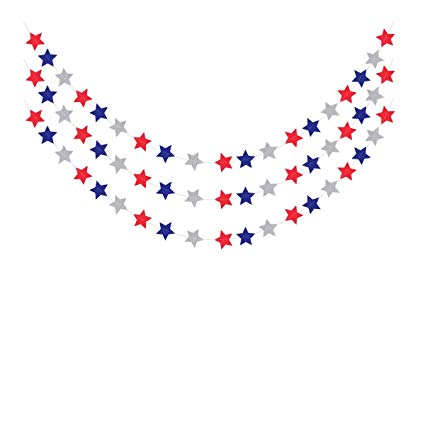 3pcs Red White Blue Star Streamers Patriotic 4th of July Bunting Banner  Paper Hanging Garland for Independence Day Memorial Day Veterans Day Photo.