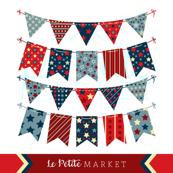 4th of July Patriotic Bunting in Vintage Red White and Blue.