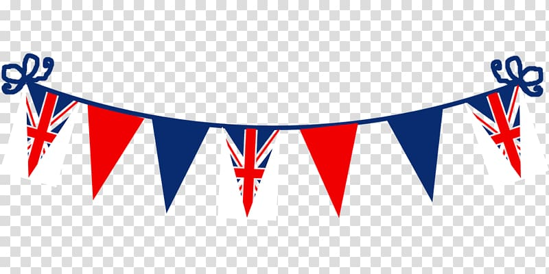 Blue, white, and red United Kingdom flaglet banters, Flag of.