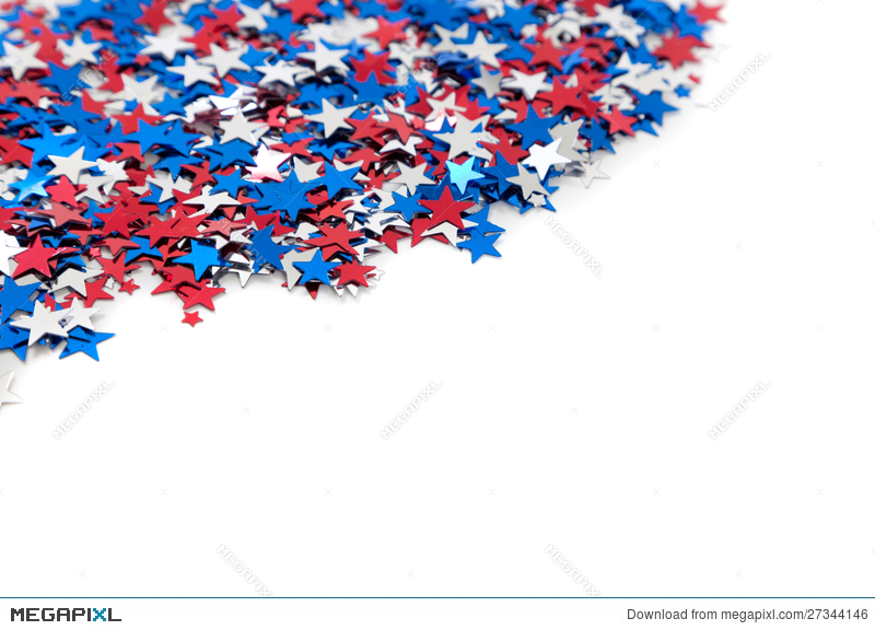 Red White And Blue Star Shaped Confetti On White Stock Photo.