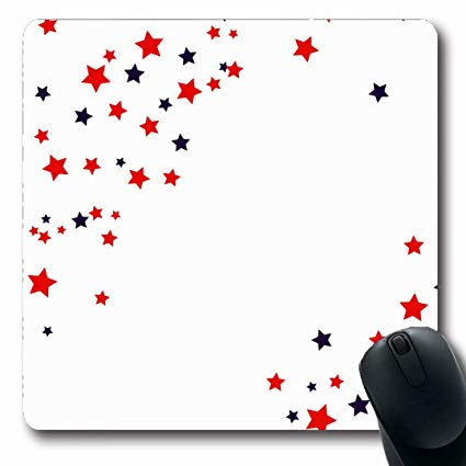 Ahawoso Mousepads July Red White USA Celebration Confetti Stars Colors  Liberty Abstract Blue America American Campaign Oblong Shape 7.9 x 9.5  Inches.